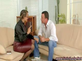 femdom mistress rules over shlong