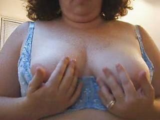 wifes hot tits in a blue bra.