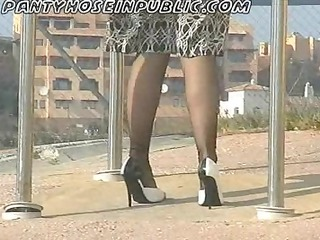 my wife in stockings flashes at call box