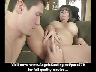 badass milf does blowjob for young boy and has