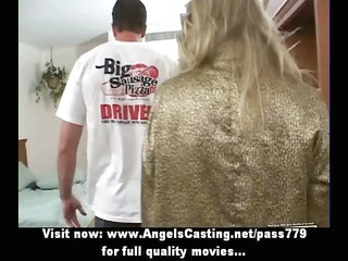 rich blonde woman does blowjob for pizza chap and