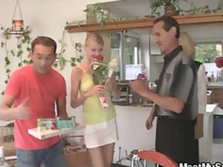 pussy toying and ramrod riding at her birthday