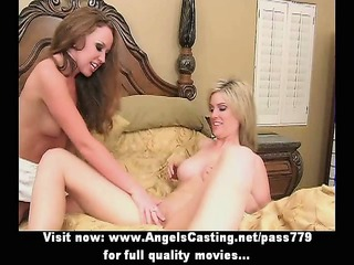 sexy golden-haired lesbians having threesome