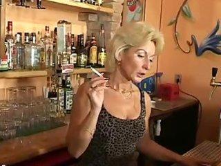 mature barmaid smoking fetish