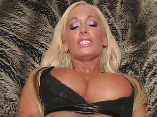 blonde milf with laptop flashing pants and toying