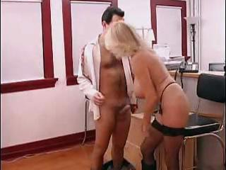 busty aged secretary gets drilled in office