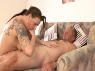chunky aged german brunette with tattoos rides
