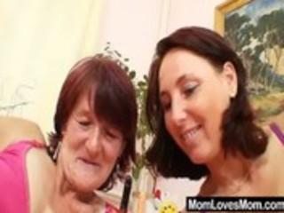 hairy grandma toyed by breasty mature lesbo