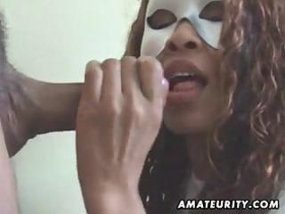 masked amateur wife sucks shlong with facial