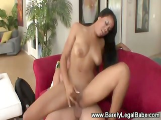luscious swarthy girl with hot body goes down on