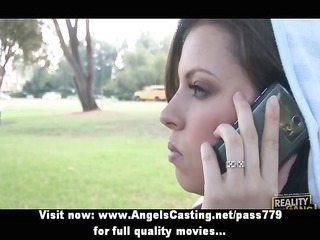 ravishing brunette does blowjob and rides cock