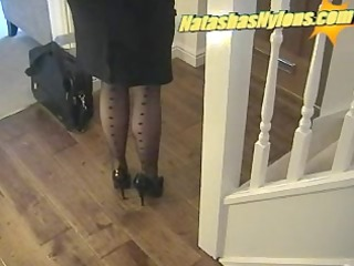 business boss with big tits in black nylons