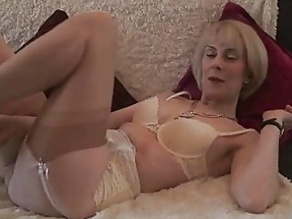mature stocking unshaved pussy play