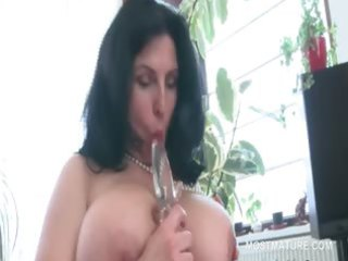 busty mature bbw tries sex toys in unshaved snatch