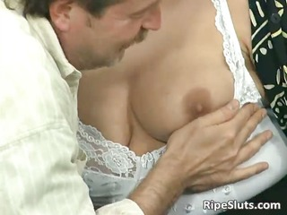 blond housewife sucks large shlong with her