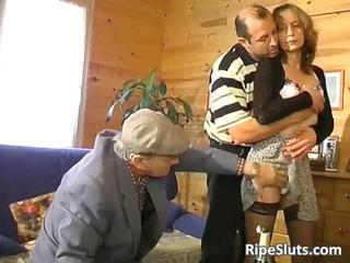 aged hairy slut copulates old lads