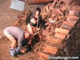 outdoor group sex with horny older bitch