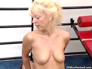 wicked blond old woman gets her pussy