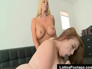 two breasty golden-haired milf fuck a large dark