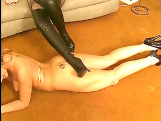 lesbian acquires naked and licks high heeled boots