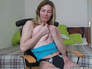 blond soccer mom shows her big love melons and