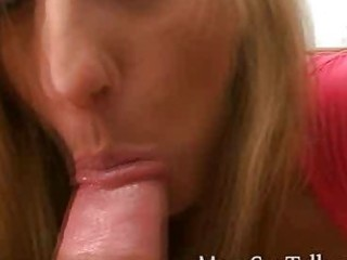 horny blonde milf gives pov blowjob to satisfy
