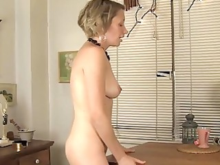 lonely milf fucks a table until she is orgasms