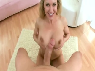 breasty milf sucks shlong from a young stud like
