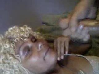 massive facial on mature ebony
