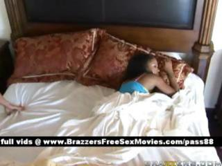adorable brunette wife wakes up