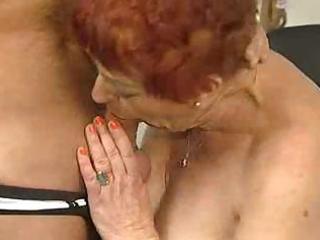 deliciously curly granny sucks and fucks
