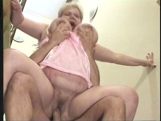 grandma bounces on a penis on the stairs