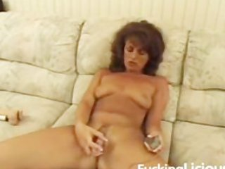 aged sweetheart toying unshaved twat