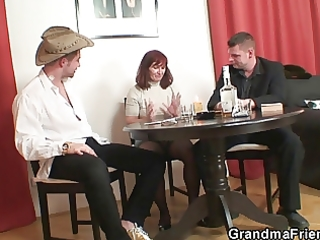 poker playing granny is fucked by two lads