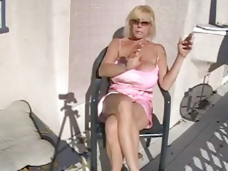 hot breasty granny smokin and relaxing
