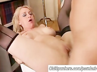 charming cougar in nylons likes to fuck