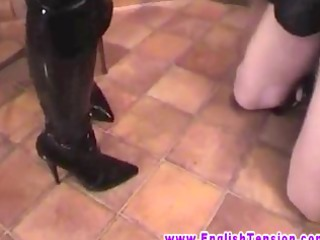 femdom milf makes sub take up with the tongue his