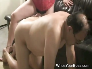 older chap getting tortured by a busty femdom