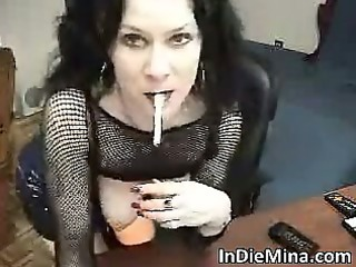 aroused sexy brunette hair bitch stripping