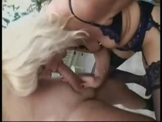 blonde german mature in stockings