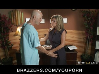 big-tit brunette doctor uses her patient for a
