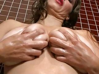 lusty large breasted milf bitch masturbates