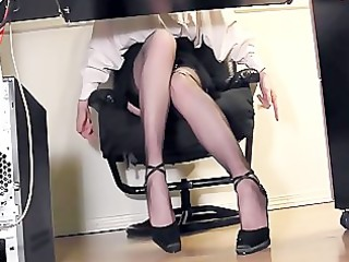 secretary fingering at the office in thigh high