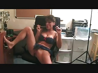 hot older smoking and toying