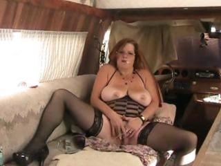 big beautiful woman granny fucks wazoo with fake