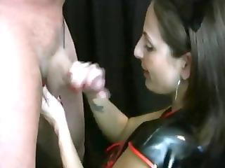 lola lynn nurse in leather handjob