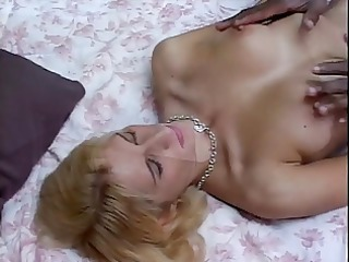 white blonde honey on her knees with biggest