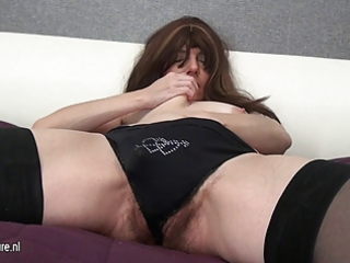 hairy mature mother and her giant toy