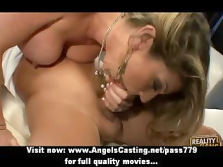 sexy blonde milf does blowjob and has pussy