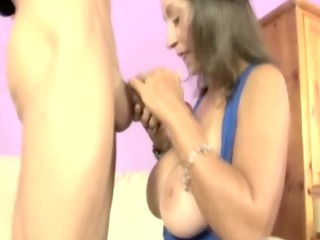 sexy handjob mother i gives great titjob